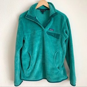 Patagonia green re-tool t-snap fleece pullover